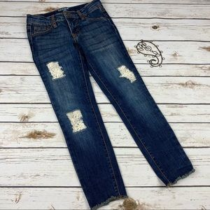 Cat & Jack Jeans Girls 8 Jegging Distressed Lace